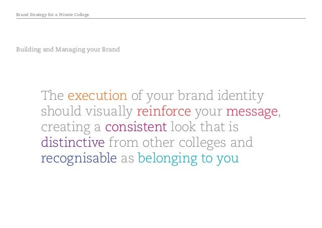 Brand Strategy for a Private College Building and Managing your Brand The execution of your brand identity should visually...