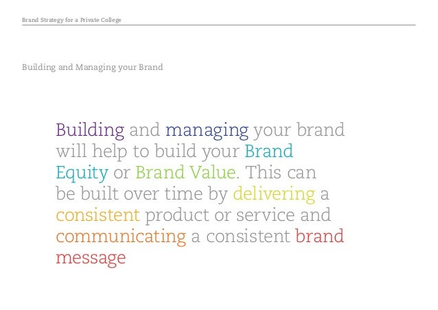 Brand Strategy for a Private College Building and Managing your Brand Building and managing your brand will help to build ...