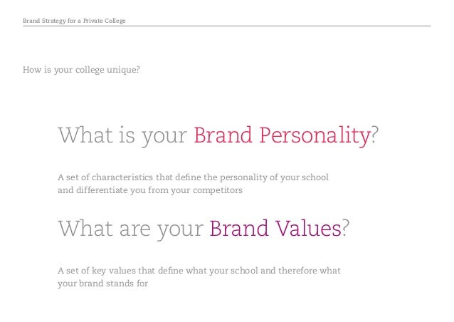 Brand Strategy for a Private College What are your Brand Values? What is your Brand Personality? A set of characteristics ...