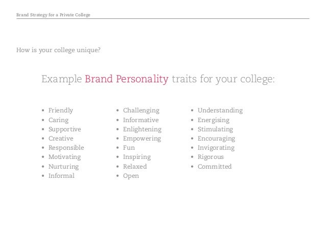 Brand Strategy for a Private College • Friendly • Caring • Supportive • Creative • Responsible • Motivating • Nurtu...
