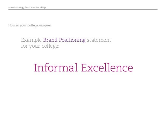 Brand Strategy for a Private College How is your college unique? Example Brand Positioning statement for your college: Inf...
