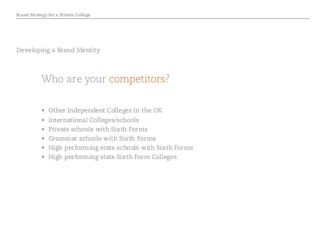 Brand Strategy for a Private College Developing a Brand Identity Who are your competitors? • Other Independent Colleges i...