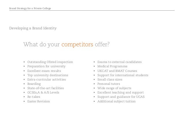 Brand Strategy for a Private College Developing a Brand Identity What do your competitors offer? • Outstanding Ofsted ins...