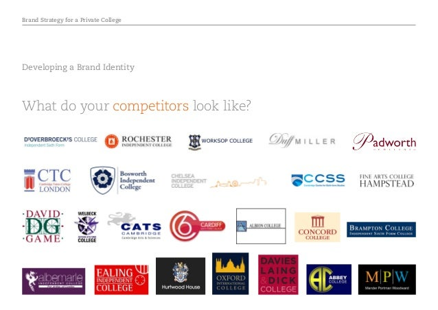 Brand Strategy for a Private College Developing a Brand Identity What do your competitors look like?