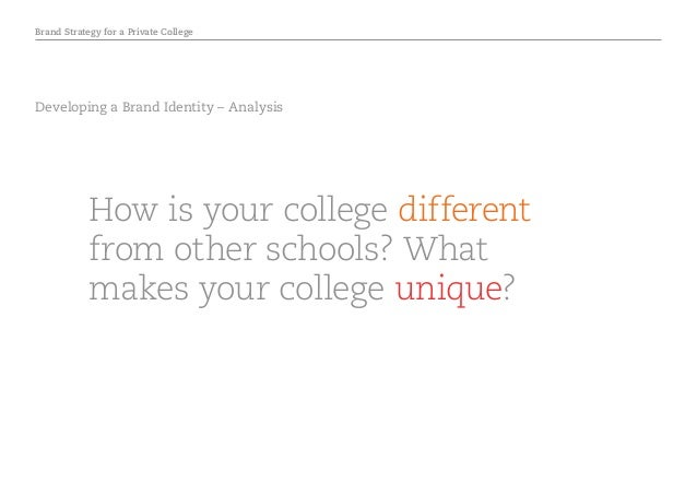 Brand Strategy for a Private College Developing a Brand Identity – Analysis How is your college different from other schoo...