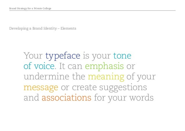 Brand Strategy for a Private College Developing a Brand Identity – Elements Your typeface is your tone of voice. It can em...