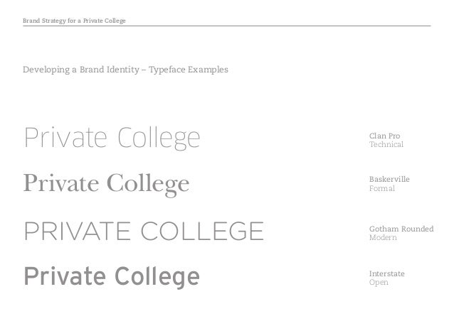 Brand Strategy for a Private College Developing a Brand Identity – Typeface Examples PRIVATE COLLEGE Private College Gotha...