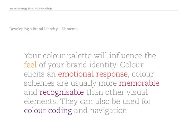 Brand Strategy for a Private College Developing a Brand Identity – Elements Your colour palette will influence the feel of...