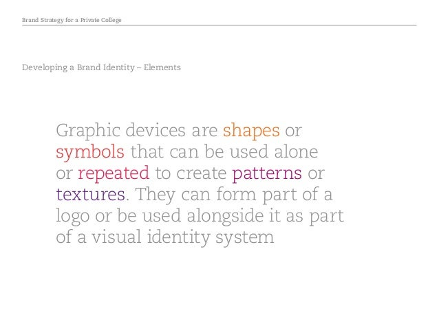 Brand Strategy for a Private College Developing a Brand Identity – Elements Graphic devices are shapes or symbols that can...