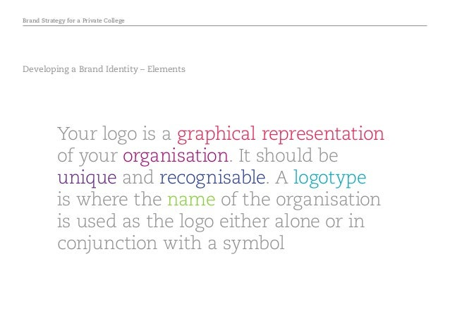 Brand Strategy for a Private College Developing a Brand Identity – Elements Your logo is a graphical representation of you...