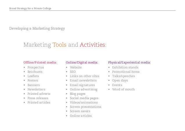 Brand Strategy for a Private College Developing a Marketing Strategy Marketing Tools and Activities: Offline/Printed media...