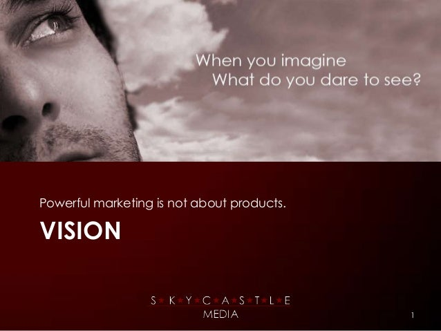 Powerful marketing is not about products.VISION                                            1
