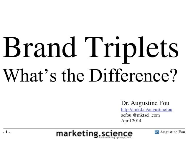 Augustine Fou- 1 - Brand Triplets What's the Difference? Dr. Augustine Fou http://linkd.in/augustinefou acfou @mktsci .com...