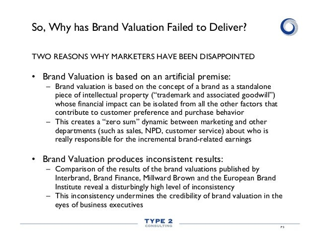 So, Why has Brand Valuation Failed to Deliver? TWO REASONS WHY MARKETERS HAVE BEEN DISAPPOINTED  • Brand Valuation is bas...