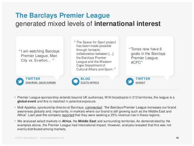 The Barclays Premier Leaguegenerated mixed levels of international interest16© 2013 Brandwatch | www.brandwatch.com• Premi...