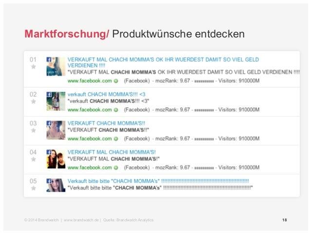 Marktforschung/ Produktwünsche entdecken  © 2014 Brandwatch | www.brandwatch.de | Quelle: Brandwatch Analytics 18