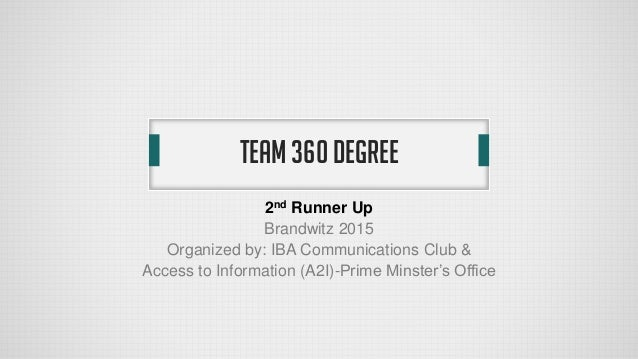 TEAM 360 DEGREE 2nd Runner Up Brandwitz 2015 Organized by: IBA Communications Club & Access to Information (A2I)-Prime Min...