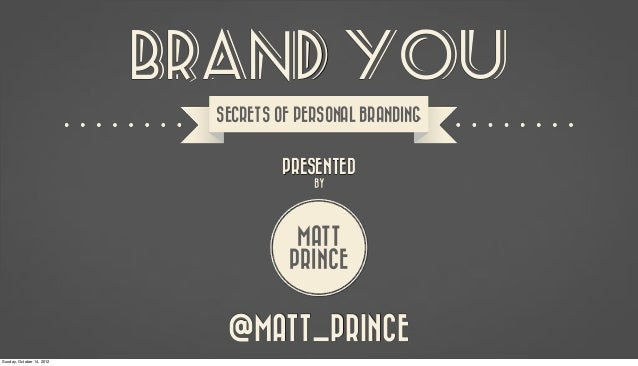 BRAND YOU                             SECRETS OF PERSONAL BRANDING                                      PRESENTED         ...