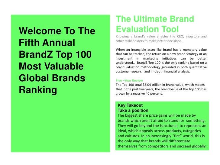 BrandZ Top 100 Most Valuable Global Brands 2010 Summary Slide 2