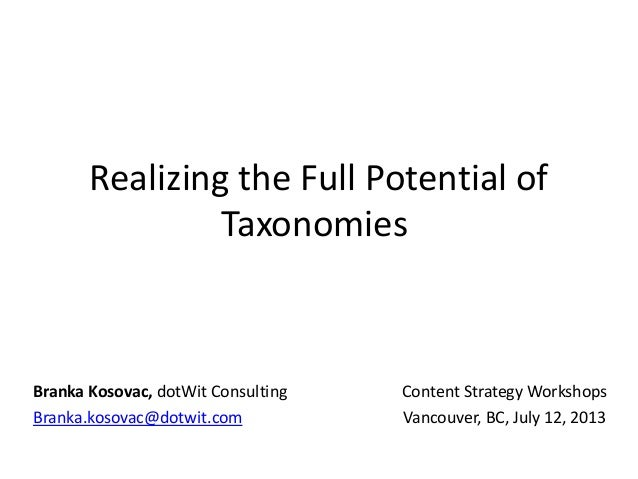 Realizing the Full Potential of Taxonomies Content Strategy Workshops Vancouver, BC, July 12, 2013 Branka Kosovac, dotWit ...