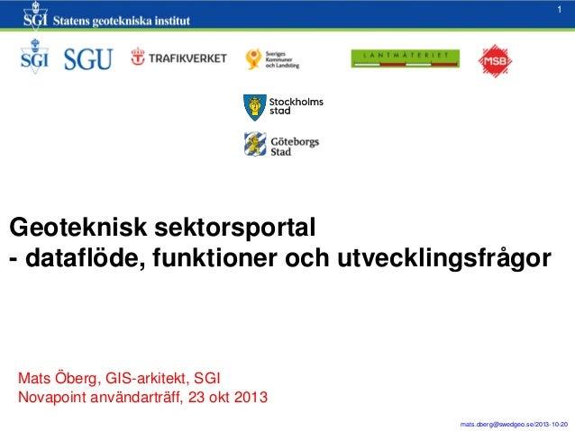 1  1  Geoteknisk sektorsportal - dataflöde, funktioner och utvecklingsfrågor  Mats Öberg, GIS-arkitekt, SGI Novapoint anvä...
