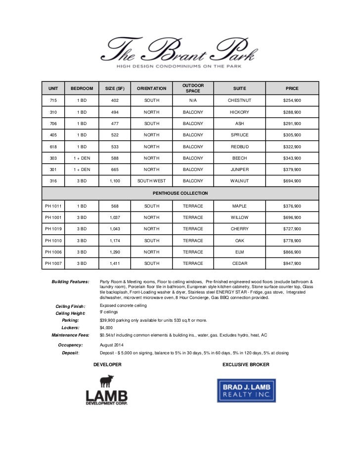 Brant Park October   Sample Price List