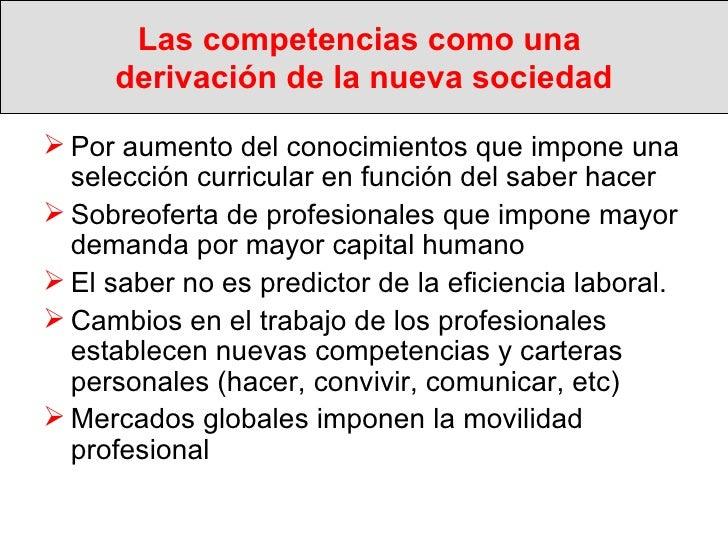 Las competencias como una  derivación de la nueva sociedad <ul><li>Por aumento del conocimientos que impone una selección ...
