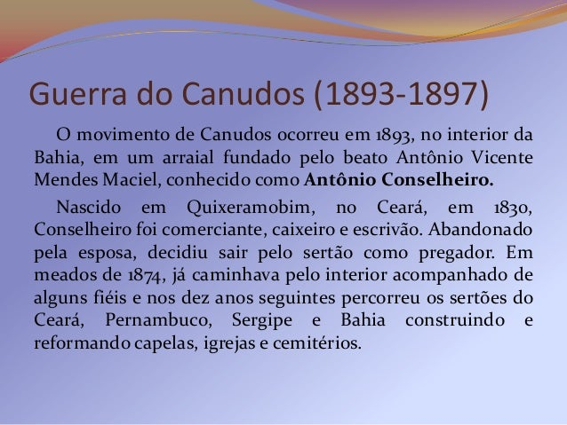 Criticado pela Igreja, Conselheiro e seus seguidoresfixaram-se numa fazenda abandonada, próxima ao RioVaza-Barris, interio...