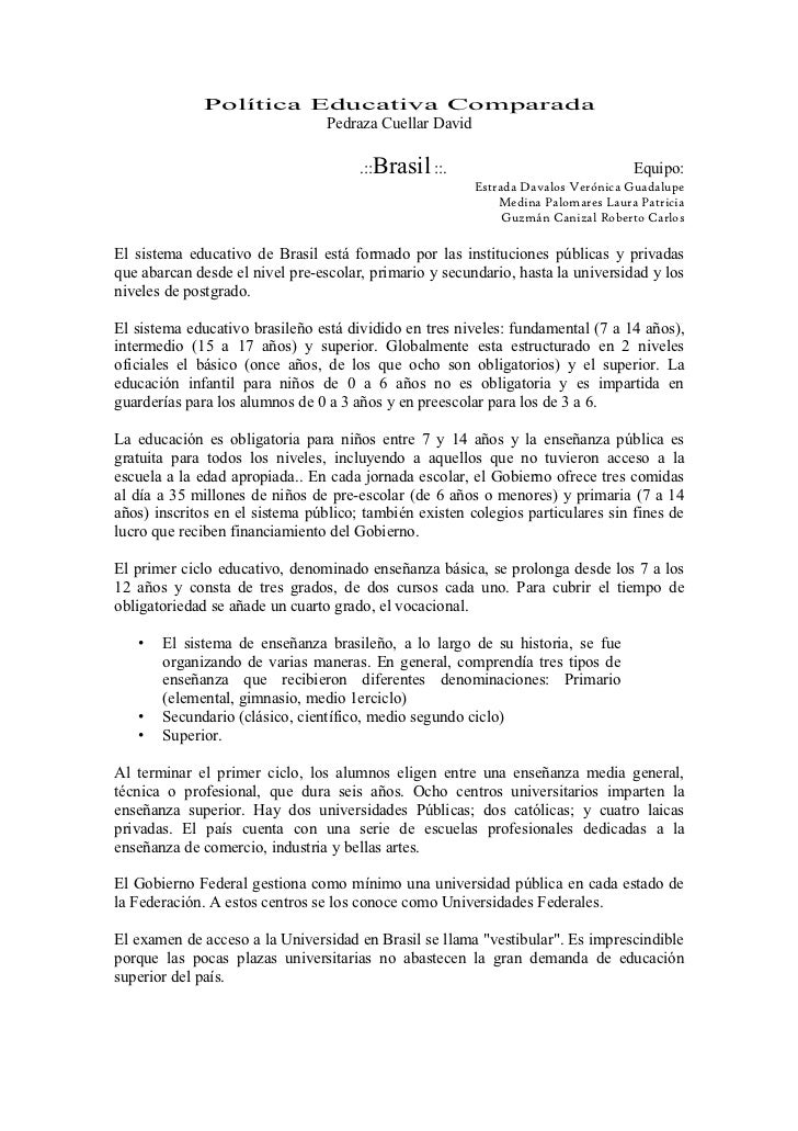 Política Educativa Comparada                       Pedraza Cuellar David                                      .::Brasil ::...