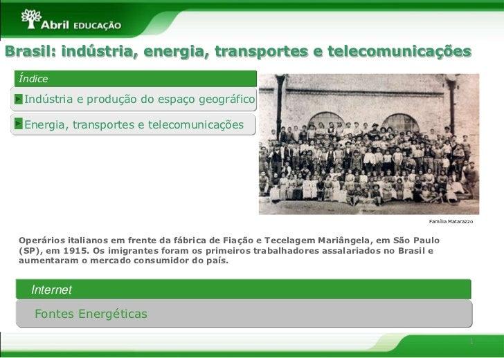 Brasil: indústria, energia, transportes e telecomunicações Índice  Indústria e produção do espaço geográfico  Energia, tra...