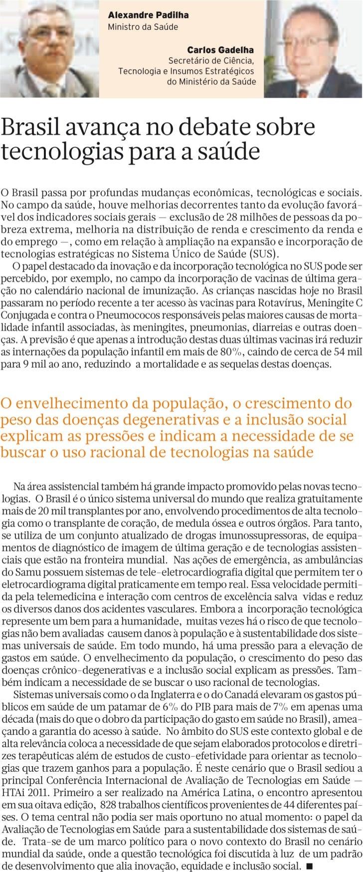 Brasil avança no debate sobre tecnologias para a saúde