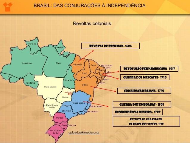 BRASIL: DAS CONJURAÇÕES À INDEPENDÊNCIA  Revoltas coloniais  REVOLTA DE BECKMAN- 1684  REVOLUÇÃO PERNAMBUCANA- 1817  GUERR...
