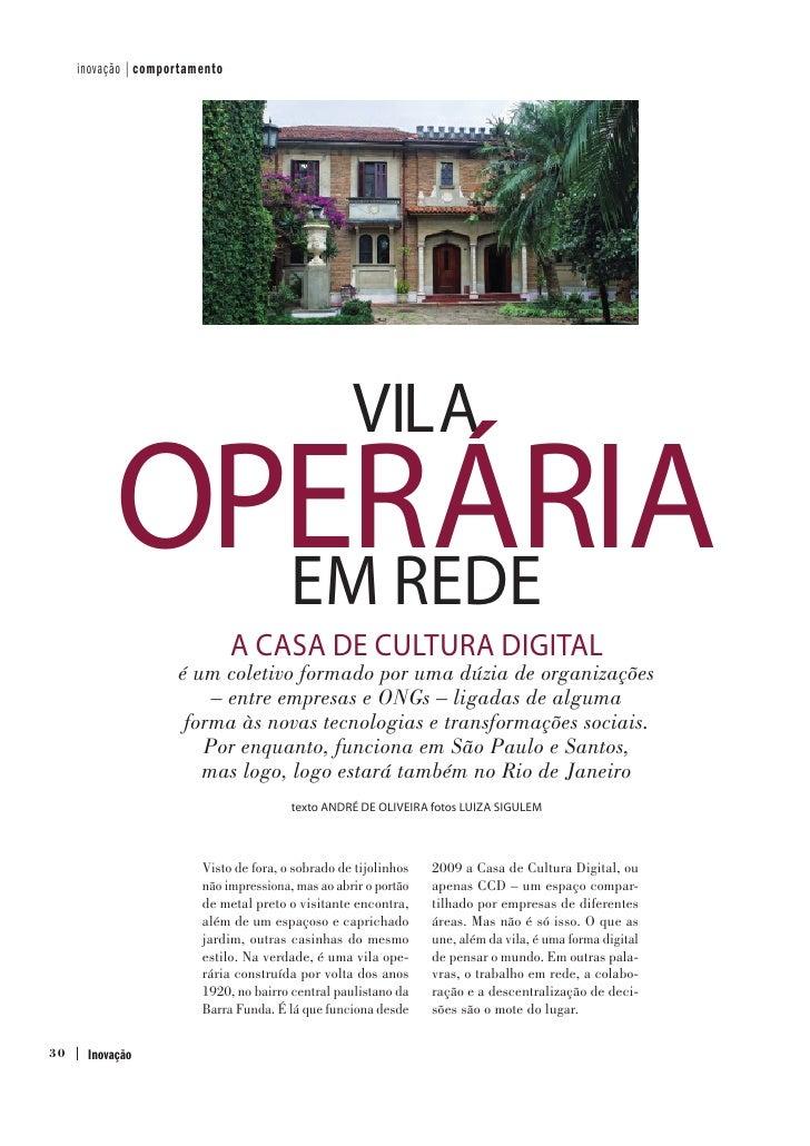 inovação | comportamento                                                    VILA           OPERÁRIA             EM REDE   ...