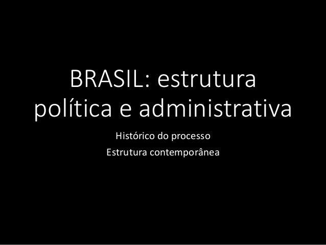BRASIL: estrutura política e administrativa Histórico do processo Estrutura contemporânea