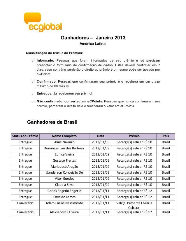 Ganhadores – Janeiro 2013                                             América Latina        Classificação de Status de Prê...