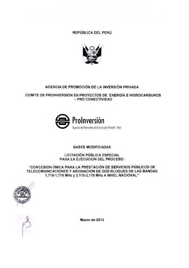 REPUBLICA DEL PERU AGENCIA DE PROMOCION DE LA INVERSION PRIVADA COMITE DE PROINVERSION EN PROYECTOS DE ENERGiA E HIDROCARB...