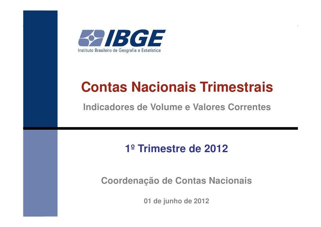 Contas Nacionais TrimestraisIndicadores de Volume e Valores Correntes         1º Trimestre de 2012   Coordenação de Contas...