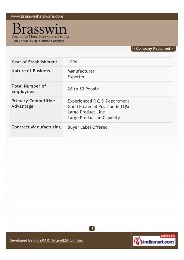 - Company Factsheet - Year of Establishment 1996 Nature of Business Manufacturer Exporter Total Number of Employees 26 to ...