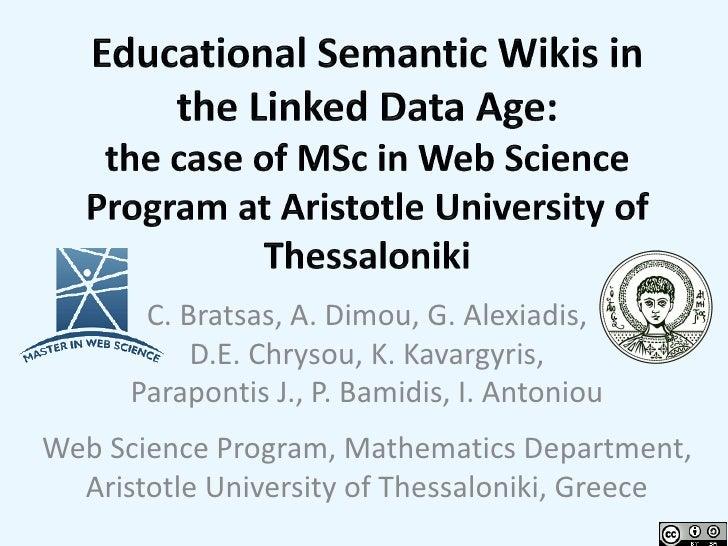 C. Bratsas, A. Dimou, G. Alexiadis,           D.E. Chrysou, K. Kavargyris,      Parapontis J., P. Bamidis, I. AntoniouWeb ...