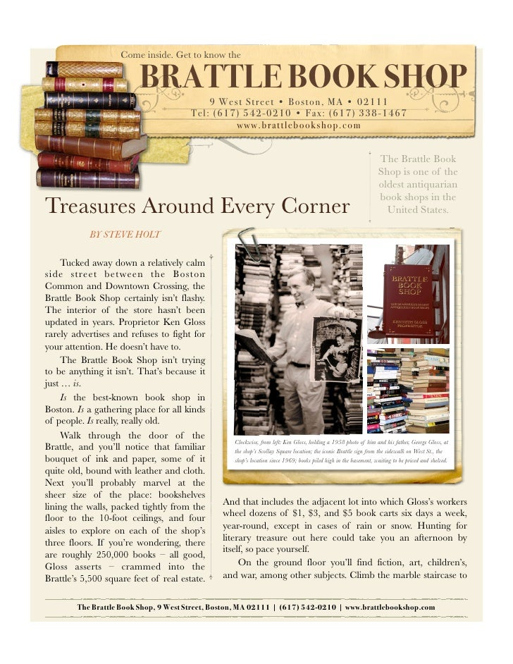 Come inside. Get to know the                            BRATTLE BOOK SHOP                                             9 We...
