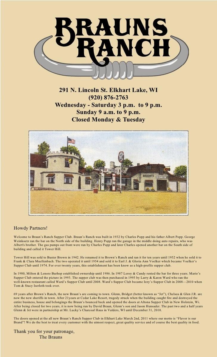 291 N. Lincoln St. Elkhart Lake, WI                                        (920) 876-2763                             Wedn...