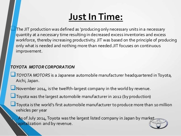 case study of toyota The toyota production system (tps) was ventured by the company and it was developed by taiichi ohno,shigeo shingo and eiji toyoda between 1948 and 1975the system is composed of various components in toyota taiichi and shigeo integrated the ford production and techniques to develop the tps.