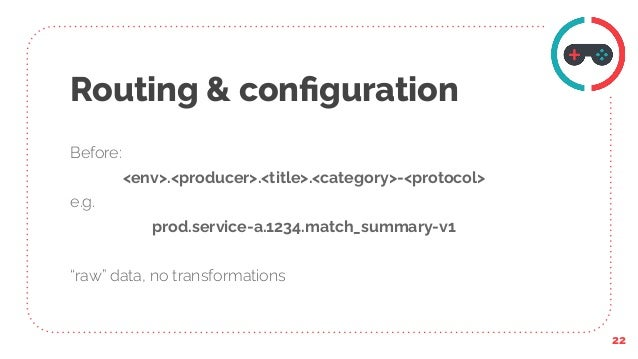 """Routing & configuration Before: <env>.<producer>.<title>.<category>-<protocol> e.g. prod.service-a.1234.match_summary-v1 """"r..."""