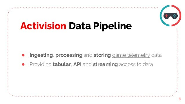 Activision Data Pipeline 3 ● Ingesting, processing and storing game telemetry data ● Providing tabular, API and streaming ...