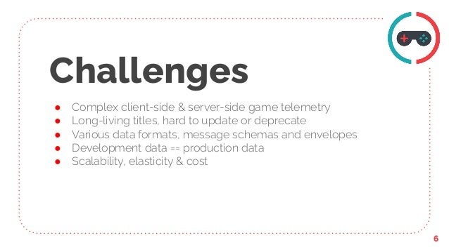 Challenges ● Complex client-side & server-side game telemetry ● Long-living titles, hard to update or deprecate ● Various ...