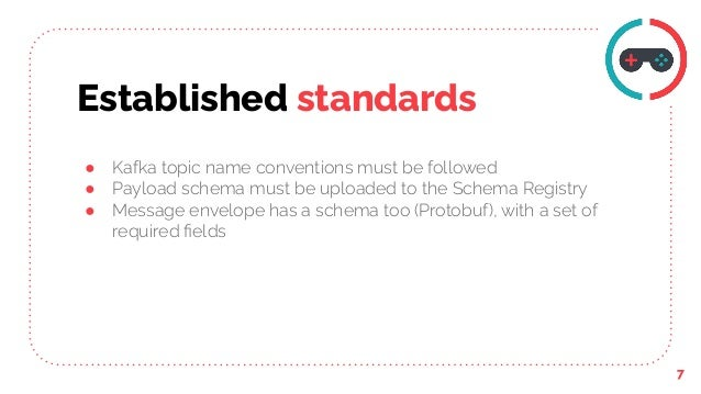 Established standards 7 ● Kafka topic name conventions must be followed ● Payload schema must be uploaded to the Schema Re...