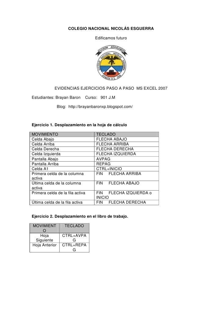 COLEGIO NACIONAL NICOLÁS ESGUERRA                                     Edificamos futuro             EVIDENCIAS EJERCICIOS ...
