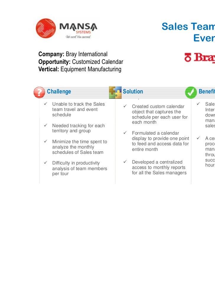 Sales Team Travel and                                                         Event SchedulerCompany: Bray InternationalOp...