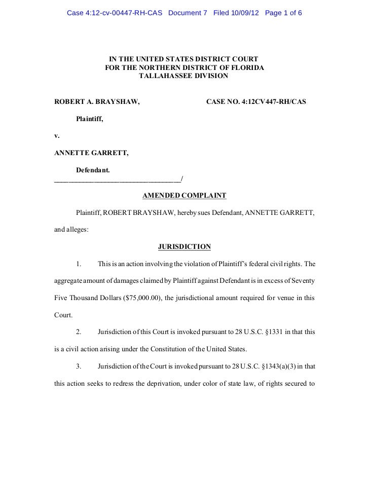 Case 4:12-cv-00447-RH-CAS Document 7 Filed 10/09/12 Page 1 of 6                       IN THE UNITED STATES DISTRICT COURT ...
