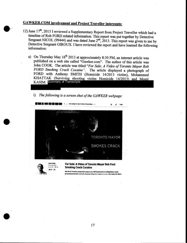 GAWKER.COM involvement and Project Traveller intercepts: 12) June 17tl!, 2013 I reviewed a Supplementary Report from Proje...